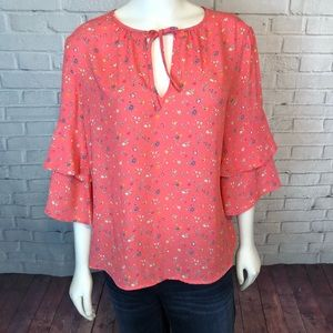 Gap Floral Blouse Top Pink Coral M 3/4 Sleeve